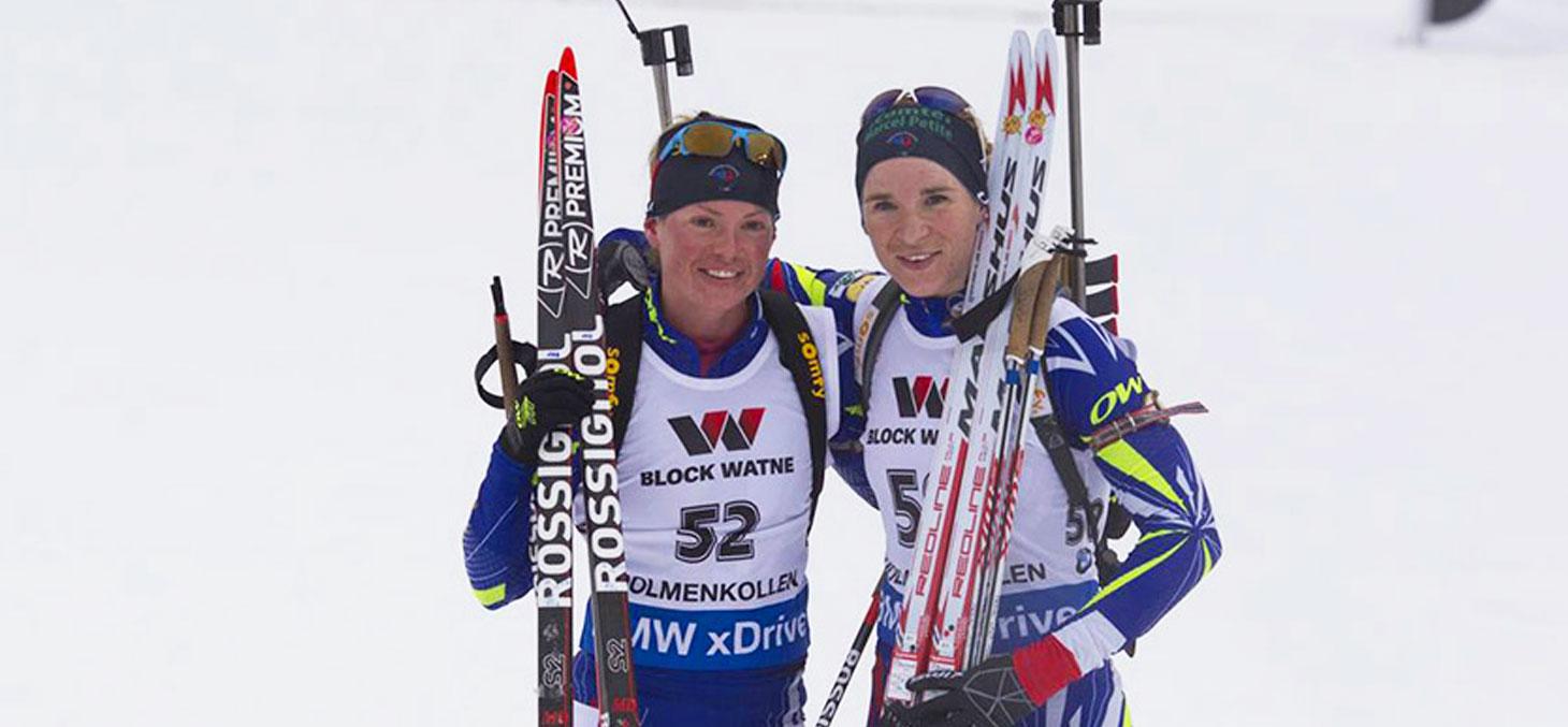 9 mars 2016, championnats du monde de biathlon à Oslo : Marie Dorin-Habert et Anaïs Bescond sont championne et vice-championne du monde sur le 15km. Crédit photo : Fédération française de ski